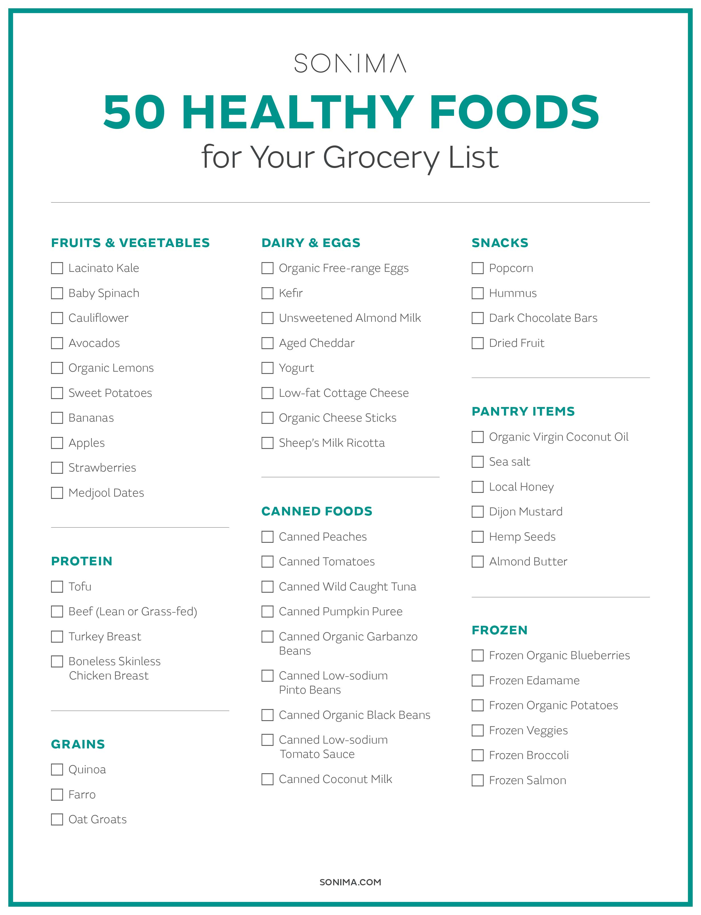 50 Healthy Foods to Add to Your Grocery List - Sonima